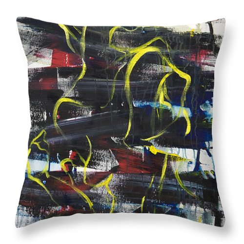 Black Throw Pillow featuring the painting The Noose by Sheridan Furrer