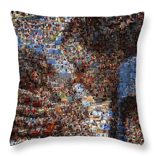 The Notebook Throw Pillow featuring the digital art The Notebook Mosaic by Paul Van Scott