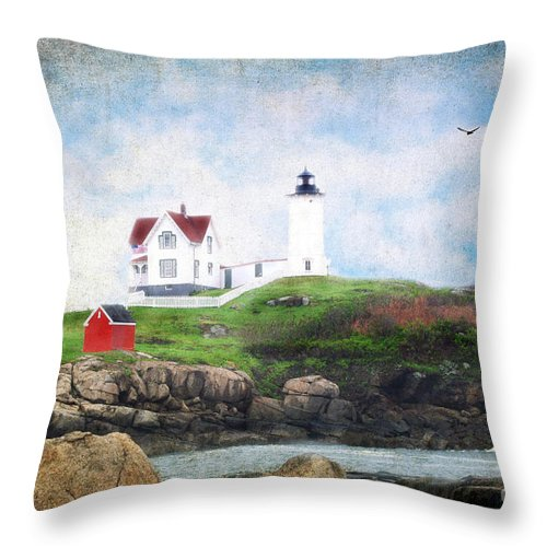 Architectural Throw Pillow featuring the photograph The Nubble by Darren Fisher