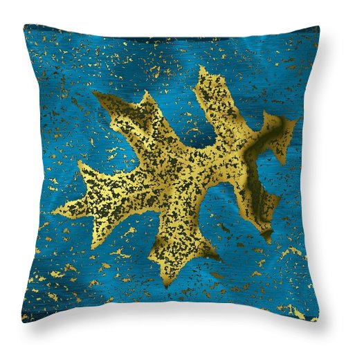 Oak Throw Pillow featuring the digital art The Oak Leaf And The Wind Storm by Tim Allen