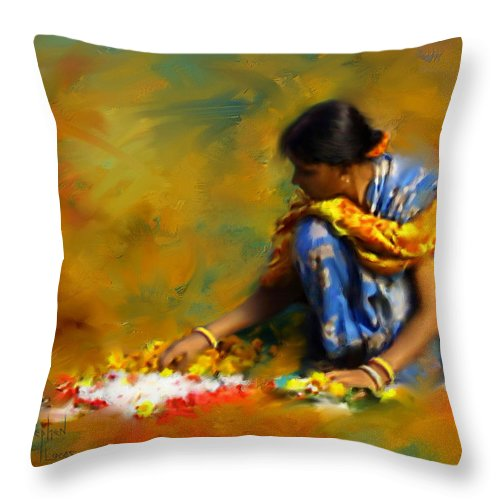 Spiritual Throw Pillow featuring the digital art The Offerings by Stephen Lucas