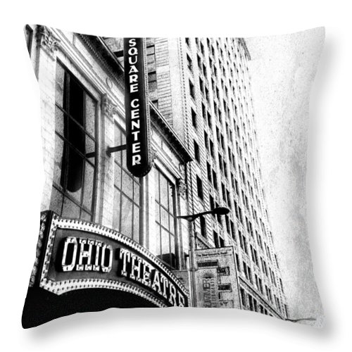 Cleveland Throw Pillow featuring the photograph The Ohio And State Theatres by Kenneth Krolikowski