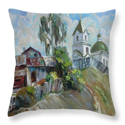 Oil Throw Pillow featuring the painting The Old And New by Sergey Ignatenko