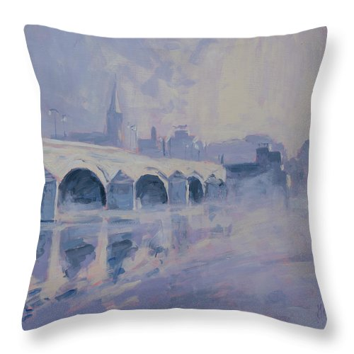 Maastricht Throw Pillow featuring the painting The Old Bridge In Morning Fog Maastricht by Nop Briex