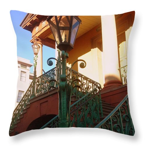 Photography Throw Pillow featuring the photograph The Old City Market In Charleston Sc by Susanne Van Hulst