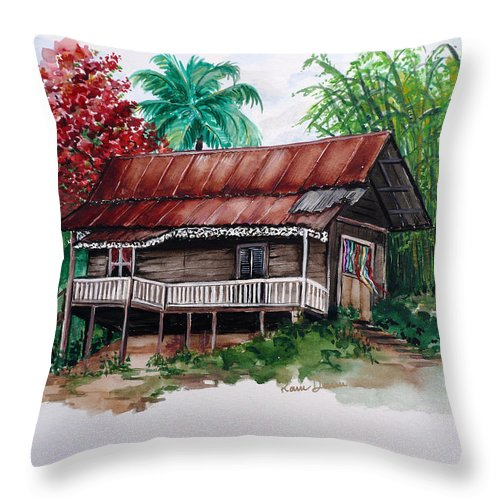 Tropical Painting Poincianna Painting Caribbean Painting Old House Painting Cocoa House Painting Trinidad And Tobago Painting  Tropical Painting Flamboyant Painting Poinciana Red Greeting Card Painting Throw Pillow featuring the painting The Old Cocoa House by Karin Dawn Kelshall- Best