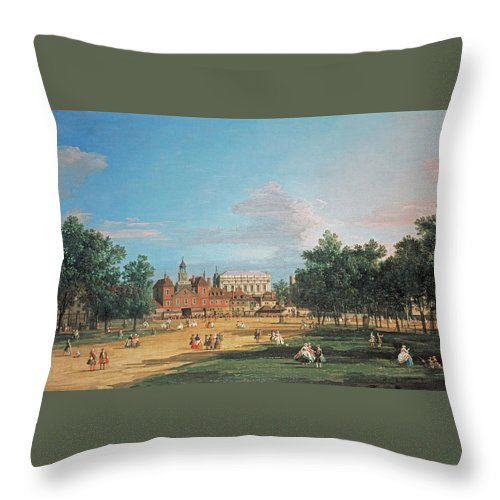 London The Old Horse Guards And The Banqueting Hall By Canaletto Throw Pillow featuring the painting The Old Horse Guards by Canaletto