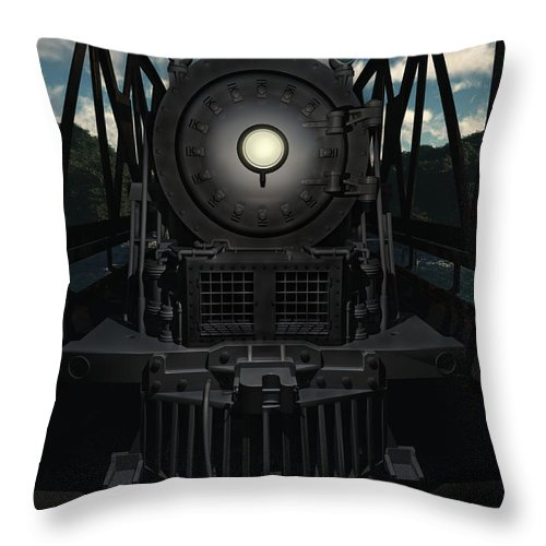 Trains Throw Pillow featuring the digital art The Old Iron Bridge by Richard Rizzo