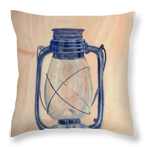 Lantern Throw Pillow featuring the painting The Old Lantern by Asha Sudhaker Shenoy