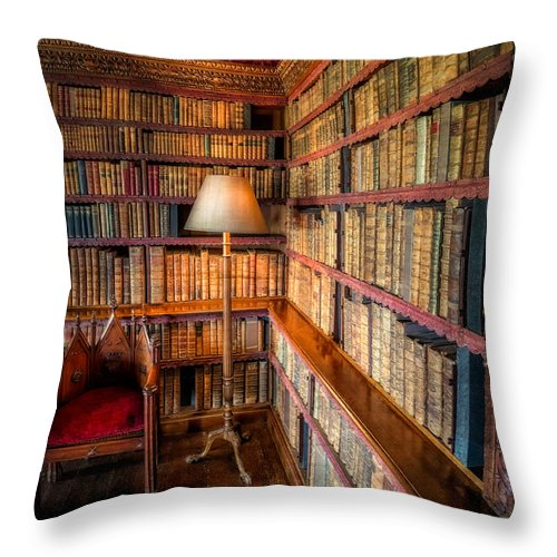Library Throw Pillow featuring the photograph The Old Library by Adrian Evans