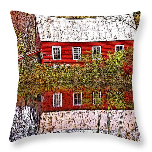 Landscape Throw Pillow featuring the photograph The Old Mill House by Nancy Griswold