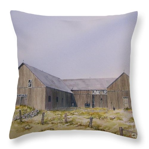 Barn Throw Pillow featuring the painting The Old Morrison Barn by Jackie Mueller-Jones
