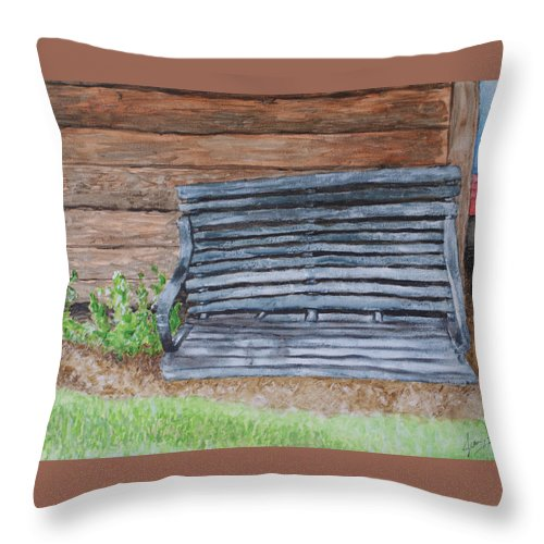 Shed Throw Pillow featuring the painting The Old Porch Swing by Jean Haynes