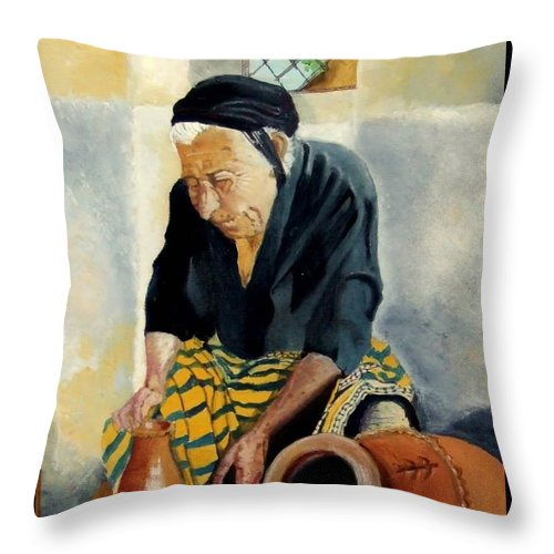 Old People Throw Pillow featuring the painting The Old Potter by Jane Simpson