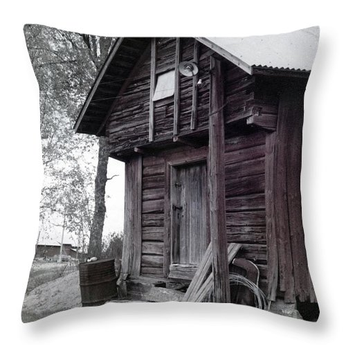 House Throw Pillow featuring the photograph The Old Red House 11x14 by Randall Thomas Stone