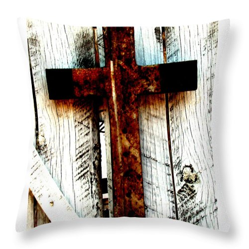 Cross Throw Pillow featuring the photograph The Old Rusted Cross by Wayne Potrafka
