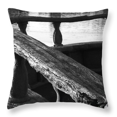 Black Throw Pillow featuring the photograph The Old Ships Rail by Kenneth Krolikowski