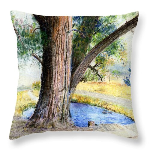 Tree Throw Pillow featuring the pastel The Old Tree by Arline Wagner