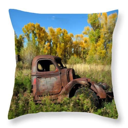 Truck Throw Pillow featuring the photograph The Old Truck Chama New Mexico by Kurt Van Wagner