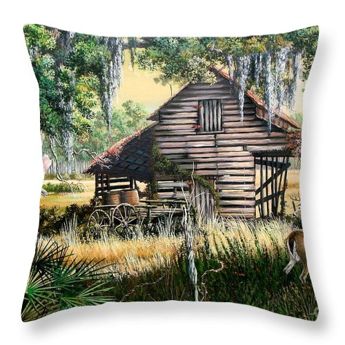Florida Throw Pillow featuring the painting Old Floridaturpentine Barn-a Florida Memory by Daniel Butler