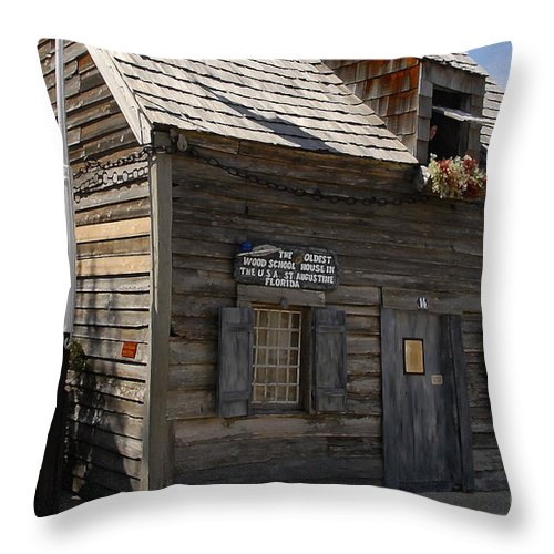 Saint Augustine Florida Throw Pillow featuring the photograph The Oldest School House by David Lee Thompson