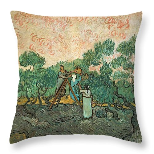 The Throw Pillow featuring the painting The Olive Pickers by Vincent van Gogh