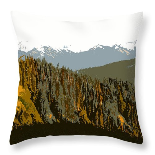Olympic Mountains Throw Pillow featuring the painting The Olympic Mountains by David Lee Thompson