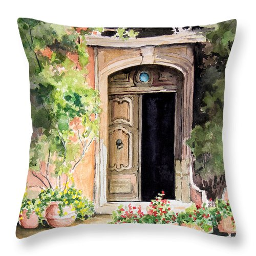 Door Throw Pillow featuring the painting The Open Door by Sam Sidders