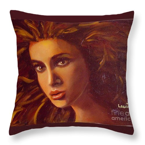 Portrait Throw Pillow featuring the painting The Oracle by Laurie Morgan