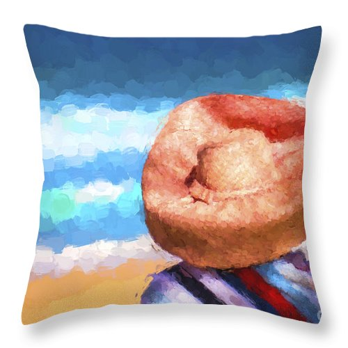 Avalon Beachl Throw Pillow featuring the photograph The orange hat by Sheila Smart Fine Art Photography