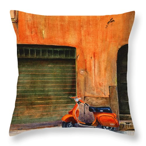 Vespa Throw Pillow featuring the painting The Orange Vespa by Karen Fleschler