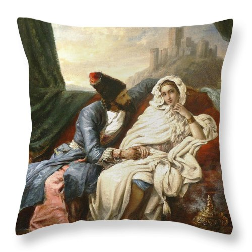 Alexandre-marie Colin Throw Pillow featuring the painting The Oriental Beauty And The Cossack by Alexandre-Marie Colin