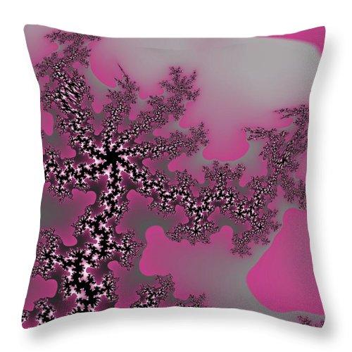Fractals Tree Nature Oriental Art Throw Pillow featuring the digital art The oriental tree by Veronica Jackson