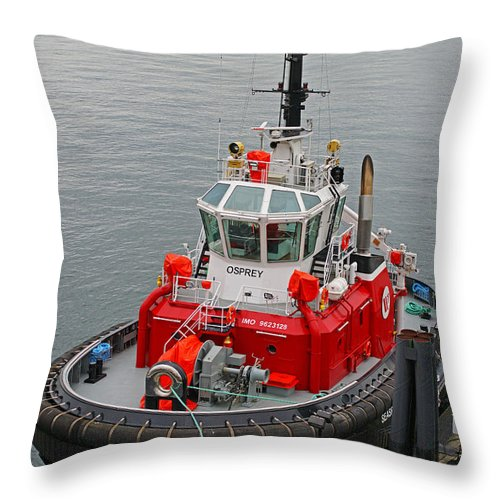 Boats Throw Pillow featuring the photograph The Osprey Tug by Randy Harris