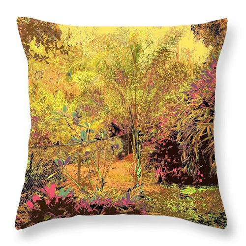 Square Throw Pillow featuring the digital art The Other Side Of The Fence by Eikoni Images