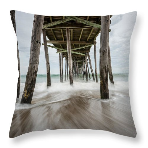 Outer Banks Throw Pillow featuring the photograph The Outer Banks North Carolina Fishing Pier by Rick Dunnuck