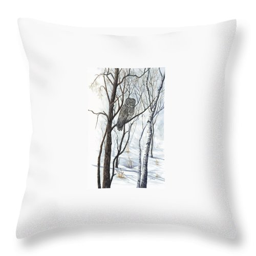 Owl Throw Pillow featuring the painting The Owl by Mary Tuomi