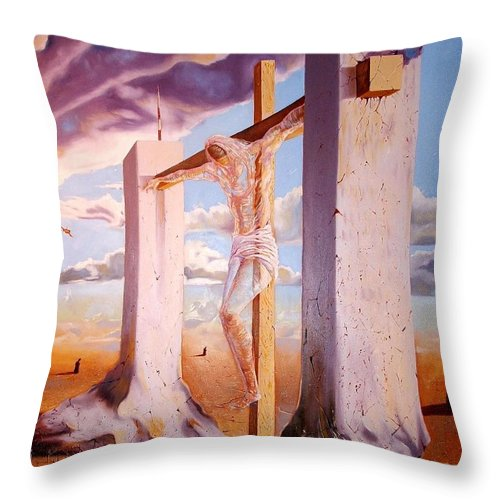 911 Throw Pillow featuring the painting The Pain Holder by Darwin Leon