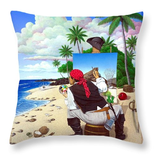 Pirate Throw Pillow featuring the painting The Painting Pirate by Snake Jagger