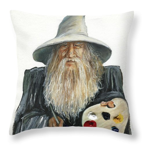 Wizard Throw Pillow featuring the painting The Painting Wizard by J W Baker