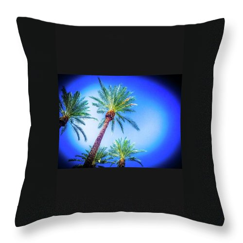 Palm Tree Lucky Number 4 Sky Vibrancy Beautiful Amazing Throw Pillow featuring the photograph The Palms Of Scottsdale by Rick Reesman