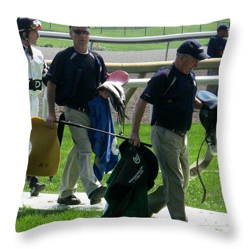 Jockey Throw Pillow featuring the photograph The Parade by Ian MacDonald