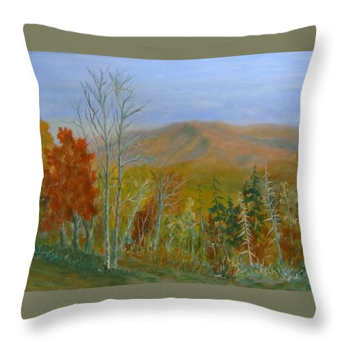 Mountains; Trees; Fall Colors Throw Pillow featuring the painting The Parkway View by Ben Kiger