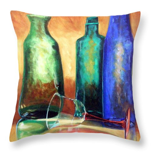 Oil Throw Pillow featuring the painting The Party's Over by Linda Hiller