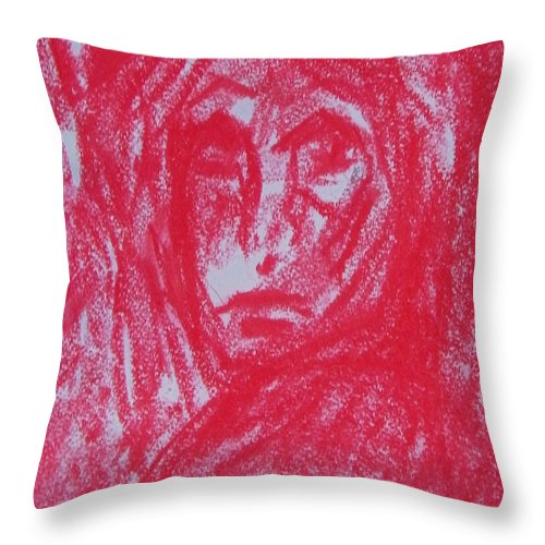 Abstract Throw Pillow featuring the painting The Partys Over by Judith Redman