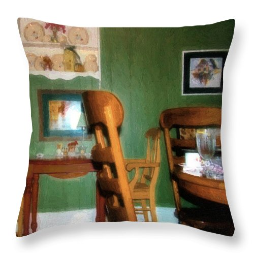 Chairs Throw Pillow featuring the painting The Party's Over by RC DeWinter