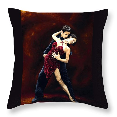 Tango Throw Pillow featuring the painting The Passion of Tango by Richard Young