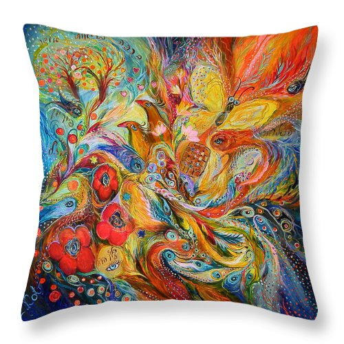 Original Throw Pillow featuring the painting The Passion Of Ultramarine by Elena Kotliarker