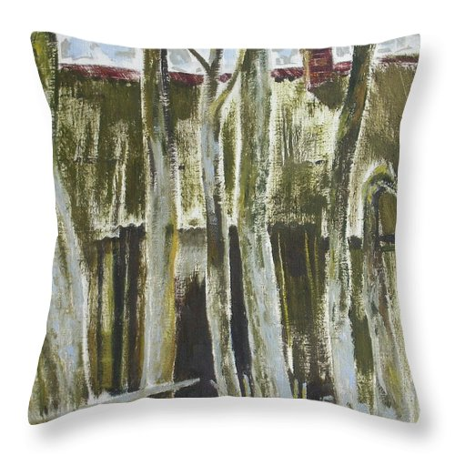 Oil Throw Pillow featuring the painting The Past Space by Sergey Ignatenko