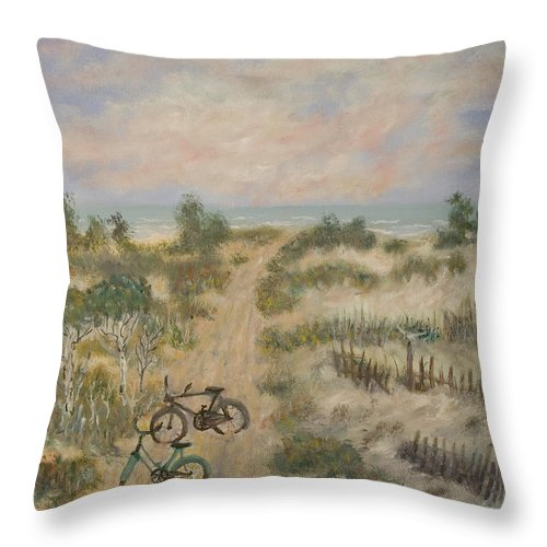 Beach Throw Pillow featuring the painting The Path by Ben Kiger